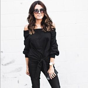 ILY black off the shoulder tie front top large